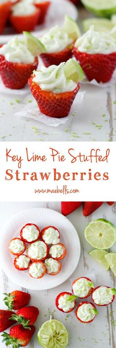 Gluten Free Key Lime Pie Stuffed Strawberries, only five ingredients! The perfect spring dessert! Spring Desserts, Just Desserts, Delicious Desserts, Yummy Food, Lemon Desserts, Strawberry Recipes, Fruit Recipes, Dessert Recipes, Cooking Recipes