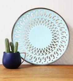 Vintage Blue Painted Silver Platter