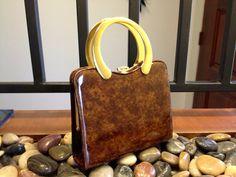 Mod Elbief Handbag  Brown Vinyl Purse  Gold by TopSpecialVintage