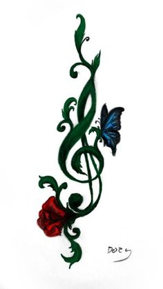 Rose, music, butterfly