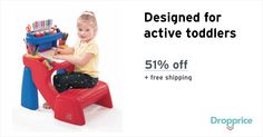 """Help me drop the price of the Step2 Write Desk to $34.00 (51% off). The price continues dropping as more moms click """"Drop the price"""". Moms drop prices of kids & baby products by sharing them with each other."""