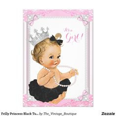 Frilly Princess Black Tutu Pearl Baby Shower 4.5x6.25 Paper Invitation Card