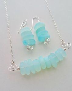 Sea Glass Necklace Sea Glasss Jewelry, Seaglass Necklace, Aqua Sea Foam Sea Glass Jewelry, Bridal Jewelry,Jewelry Sets, Bridesmaids Jewelry
