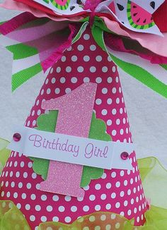Watermelon Birthday Party Hat in Hot Pink by LittlePinkTractor, $13.50