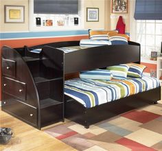Kids Bedroom Awesome Furniture Kids Bunk Beds In Double Beds Rooms Decor Cute Double Loft Beds For Kids Bunk Beds For Boys Room, Bunk Beds With Stairs, Cool Bunk Beds, Kid Beds, Kids Bedroom, Kids Rooms, Bedroom Ideas, Bed Ideas, Master Bedroom