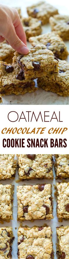 Jam-packed with oats, nuts and plenty of gooey chocolate, these simple ultra-chewy snack bars are the best way to energize on a busy weekday! @WholeHeavenly