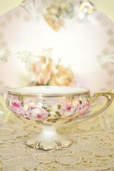 shabby colored roses on teacup