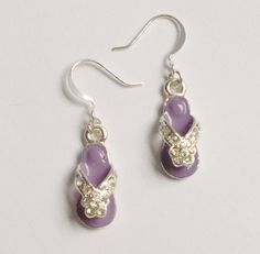 Flipflop Earrings in Purple  Enamel and by ChapletsNSuch on Etsy, $8.00 #RT #jenbnr awesome #jewelry #regilious #prayer #chaplets #rosaries #jewelrybot
