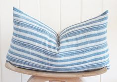 INDIGO MUD CLOTH Pillow Case Striped Vintage 14x22