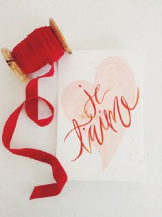 Valentines Day Greeting Cards - Je T'aime Watercolor Heart & Calligraphy- Single A-2 Card