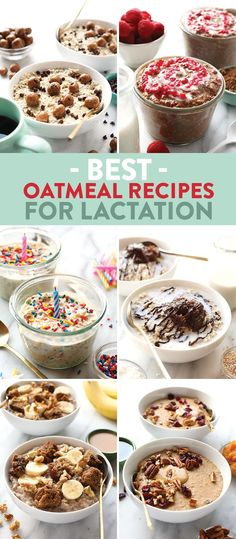These are the best oatmeal recipes for lactation and breast feeding moms! They're all gluten free, packed with healthy carbs, and the perfect breakfast the whole family will love!