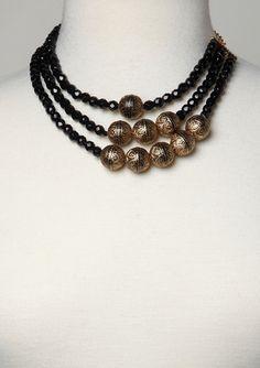 YOCHI DESIGNS Triple Strand Long Layered Necklace
