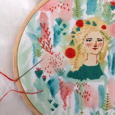 Embroidery and painting illustrations by Abigail Halpin #embroidery #hoopart