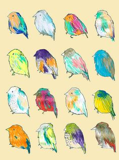 little pudgy rainbow birds. love the texture!