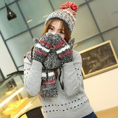 Women striped hat scarf and gloves set for winter