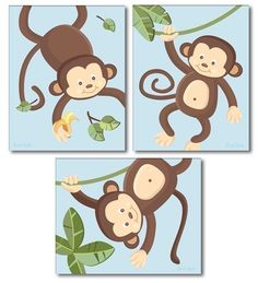 Set of 3 Blue Jungle Monkey Monkeys Nursery Art by smileywalls, $18.90