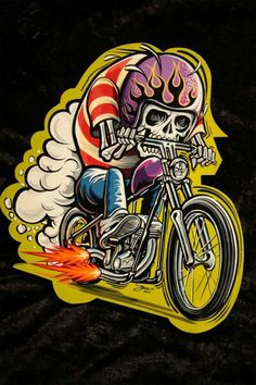 I'm all about American Made, Motorcycles and Leather. Biker Tattoos, Motorcycle Tattoos, Motorcycle Art, Bike Art, Cartoon Kunst, Cartoon Art, Rat Fink, Lowbrow Art, Skull And Bones