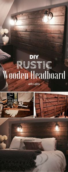 Check out this idea on how to build an easy #DIY #rustic wooden headboard with lights for bedroom decor #homedecor #project #budget @istandarddesign