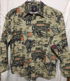 bdc0fff6 Mens XL Cowboy Gun Fight Shirt Salty Dog Brand #SaltyDog #ButtonFront Dog  Branding,