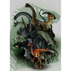 Brachiosaurus, Apatosaurus, Parasaurolophus, Stegosaurus, Triceratops, Corythosaurus, Ankylosaurus, Gallimimus e Pachycephalosaurus.