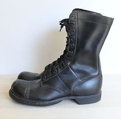 Militaria Original Corcoran Black Leather Field Boots With Vibram Sole Size 9.5 D Customers First Uniforms & Bdus