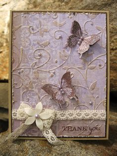Stamps ~ Paper and Such: Wings and Such. Paper ~ Kraft, Dark Chocolate, DCVW DP. Ink ~ Versafine Vintage Sepia, Antique Linen. Accessories ~ CB embossing folder, pearls, lace, stickles.