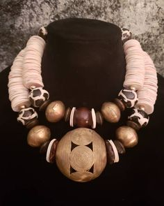 adjustable closure Tribal jewelry ooak ethnic rough ceramic necklace with cones in natural colors