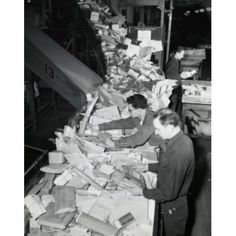High angle view of postal workers sorting mail in a post office General Post Office New York City New York State USA Canvas Art - (24 x 36)