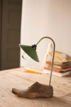 Antique Wooden Shoe Mold Lamp with Recycled Green Lamp Shade
