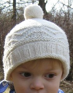 b3cee8e7306 Free Knitting Pattern for Gansey Hat - This easy pompom beanie hat is sized  for children
