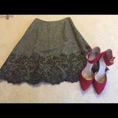 Ann Taylor Tweed A line skirt Tweed A line skirt,with embroidered scalloped hem.Great with pumps or boots!Gently worn.❌❌no swaps❌❌ Ann Taylor Skirts A-Line or Full