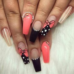 Unique Summer Coffin Nails Designs For You - Nail Art Connect Every season brings a new nail idea. Summer manicures need a variety of colors. Colorful colors make people happier. Disney Acrylic Nails, Disney Nails, Cute Acrylic Nails, Acrylic Nail Designs, Nail Art Designs, Coral Nail Designs, Disney Nail Designs, Creative Nail Designs, Design Art