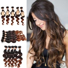 "Ombre Virgin Human Hair Extension 12""-30"" 50g/Pcs 2Bundles Brazilian Body Wave"