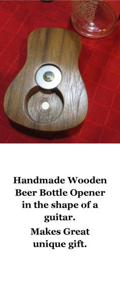Handmade Wooden Beer Bottle Opener in shape of a Guitar. Makes great band gift, wedding gift, man cave, groomsman's gift.