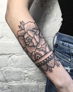 Flower Arm Linework Tattoo.
