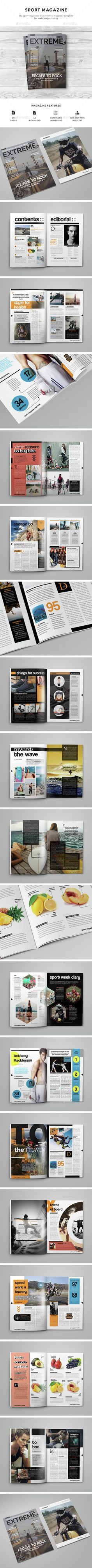 Sport Magazine 30 Unique Pages Template InDesign INDD. Download here: http://graphicriver.net/item/sport-magazine/14754930?ref=ksioks