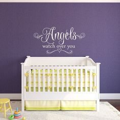 Get It Now Nursery Wall Decal - Angels Watch Over You - Baby Girl Nursery Wall Decal - Angel Wall Decal - Heart Wall Decal by NewYorkVinyl. Wall Decor Lights, Kids Wall Decor, Wall Decorations, Art Decor, Wall Stickers Murals, Wall Decal Sticker, Wallpaper Decor, Heart Wall, Nursery Wall Decals