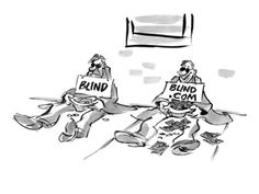 size: Premium Giclee Print: Two blind men sitting on sidewalk. One sign reads, 'Blind' and the other r… - Cartoon by Lee Lorenz : Entertainment Deer Ticks, Art Editor, The New Yorker, Magazine Art, Giclee Print, Blinds, Sidewalk, Cartoon, Signs