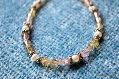 Swarovski crystal bracelet with white freshwater by Eleksmom Designs