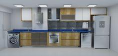 Cozinha -  Bancada silestone Azul Enjoy, armários em madeira, pastilha inox Projeto: Alessandra Onofri
