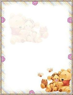"""""""Tell A Story"""": """"Winnie & a doll"""" from """"Winnie the Pooh"""", as courtesy of Walt Disney Printable Lined Paper, Free Printable Stationery, Disney Scrapbook, Scrapbook Paper, Disney Writing, Christmas Letterhead, Disney Frames, Envelopes, Art Vintage"""