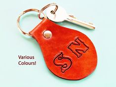 Click To Shop Now - Handmade Personalised Initials Leather Keyring, Hand Stamped Leather Keychain. #personalised #initials #leather #keyring #keychain #handstamped Leather Bookmark, Leather Keyring, Leather Gifts, Leather Craft, Handmade Leather, Leather Anniversary Gift, Anniversary Gifts For Parents, Customized Gifts, Personalized Gifts
