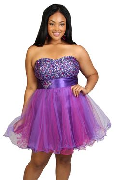 Deb Shops plus size strapless party dress with stone bodice and wire hemline #prom
