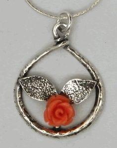 Silver necklace coral pendant