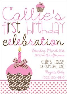 cupcake party invites, animal print cupcake invitations, cupcake party invites via Party Box Design. the cutest first birthday party invites!