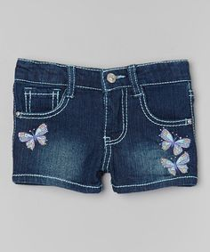 Look at this #zulilyfind! Blue Bling Butterflies Denim Shorts - Toddler & Girls #zulilyfinds