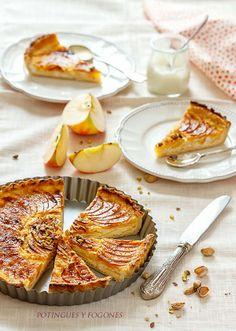 Tarta de requesón y manzana