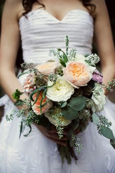 David Austin roses, veronica, scabiosa pods, seeded eucalyptus, dahlias. photo by First Comes Love. Flowers by Wylie Weddings.