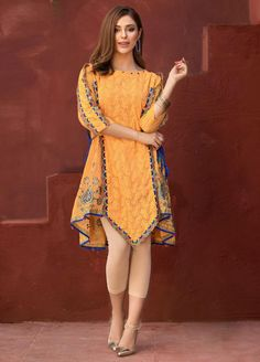 Edenrobe Embroidered Cotton Net Stitched Kurtis 066569 in 2020 (With images) Simple Pakistani Dresses, Pakistani Fashion Casual, Pakistani Dress Design, Indian Dresses, Shadi Dresses, Indian Outfits, Indian Fashion, Stylish Dresses For Girls, Stylish Dress Designs