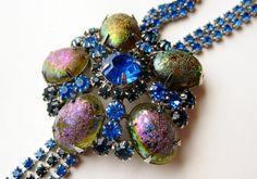 Vintage 50s Iridescent Glass Cabochon Jeweled by SoCalJewelBox, $62.00